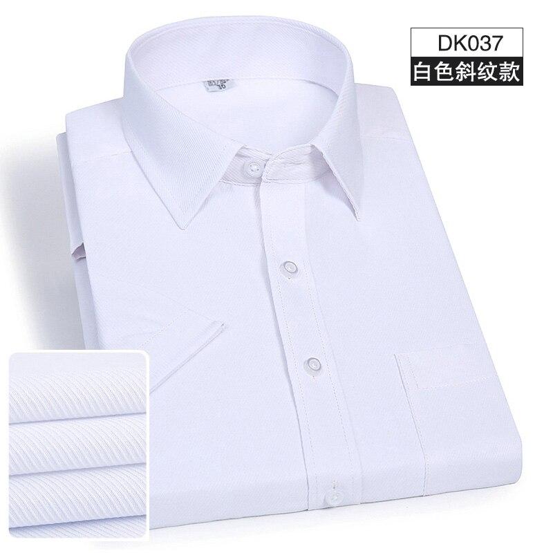 New Arrived mens work shirts Brand Short sleeve striped /twill men dress shirts white male shirts 4xl Slim Men Dress Shirt