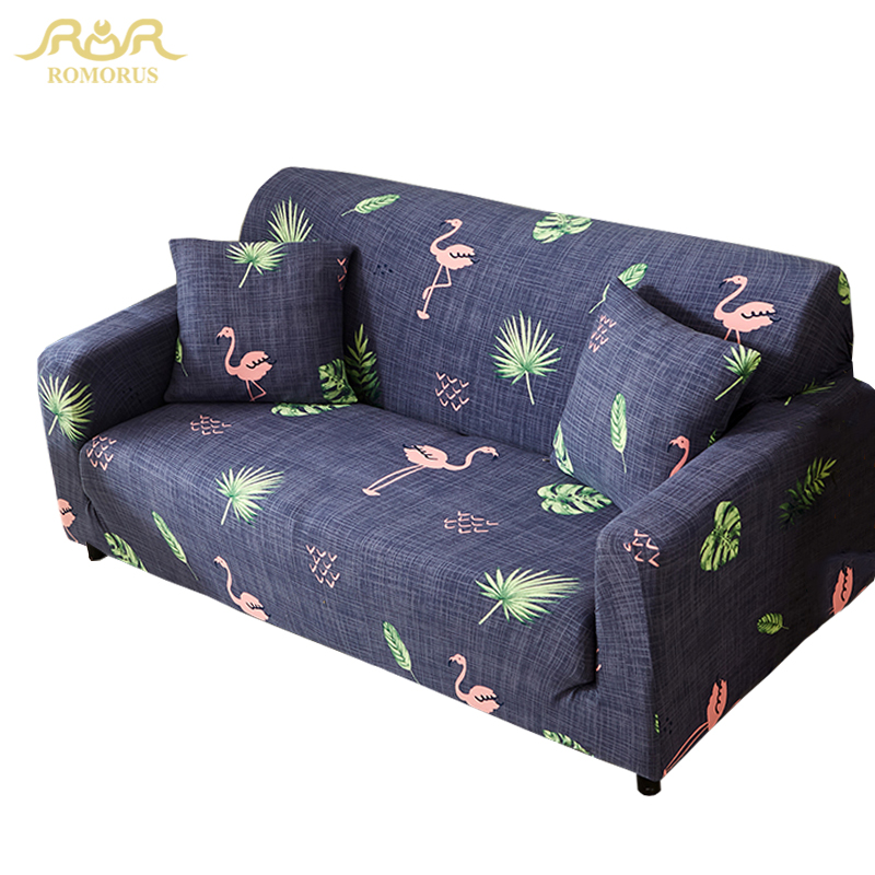 US $25.93 35% OFF|Flamingo Feather Pattern Sofa Cover Elastic All inclusive  Universal Single Loveseat Three Seat Couch Covers L Shaped Slipcovers-in ...