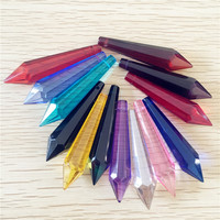 Hot 63mm 80mm Mix Colored Icicle Drop Chandelier Prism Parts Crystal Glass Hanging Pendant For Lamp Decoration