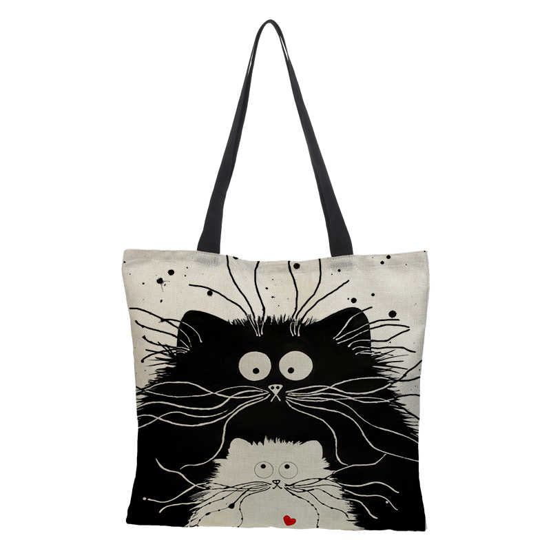 Customized Cute Cat Printing Women Handbag Linen Tote Bags with Print Logo