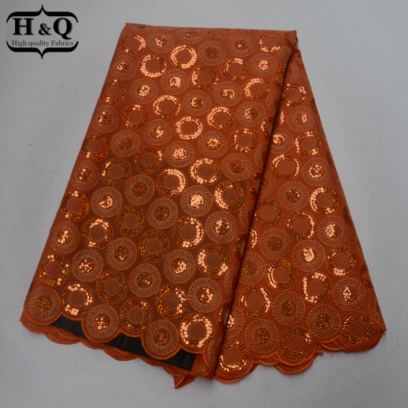 Orange Swiss Voile Lace With Sequins High Quality Organza Lace Fabric 5 Yards Pcs African Lace