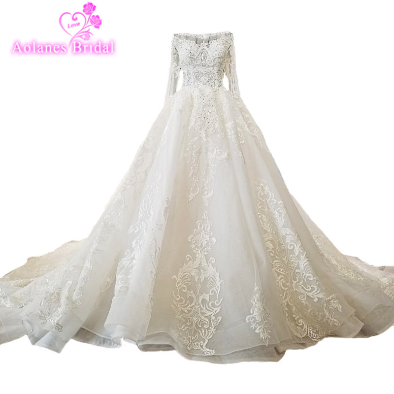 AOLANES 2018 Natural White Tulle Scoop Royal Train Bridal