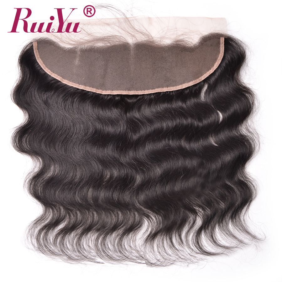 RUIYU 13x4 Ear to Ear Lace Frontal Closure With Baby Hair Peruvian Body Wave Non remy
