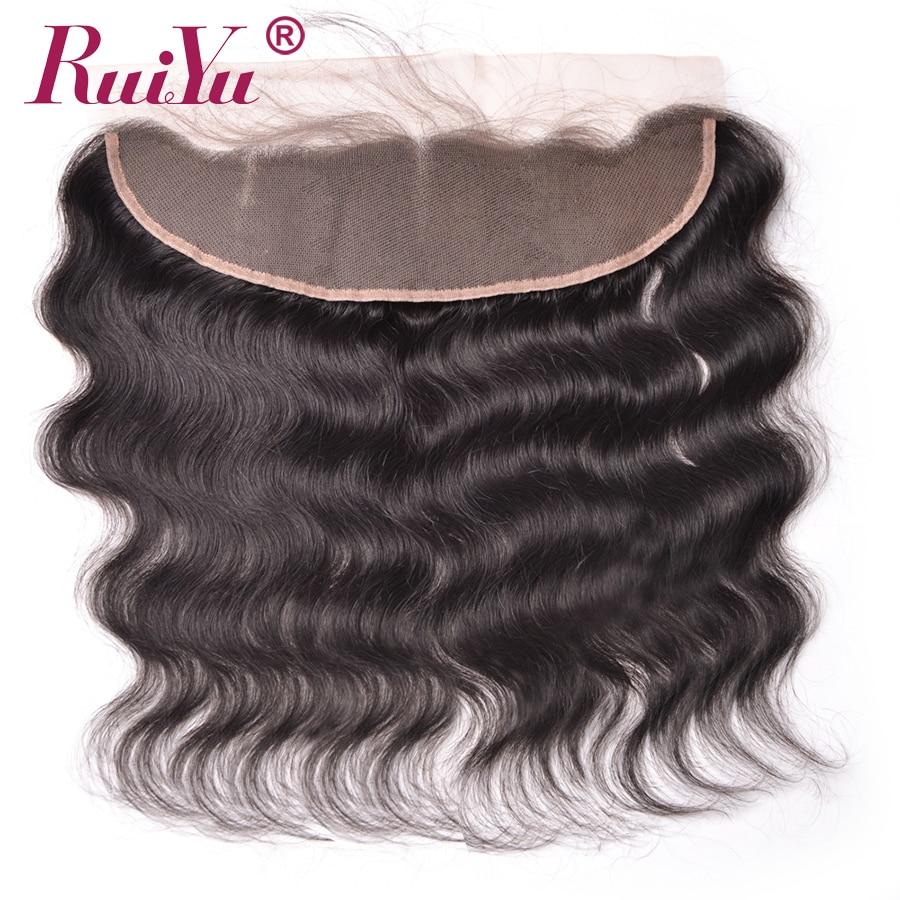 RUIYU 13x4 Telinga Telinga Renda Frontal Penutupan Dengan Bayi Rambut Tubuh Gelombang Peru non-remy Rambut Manusia Penutupan Dikelantang knot
