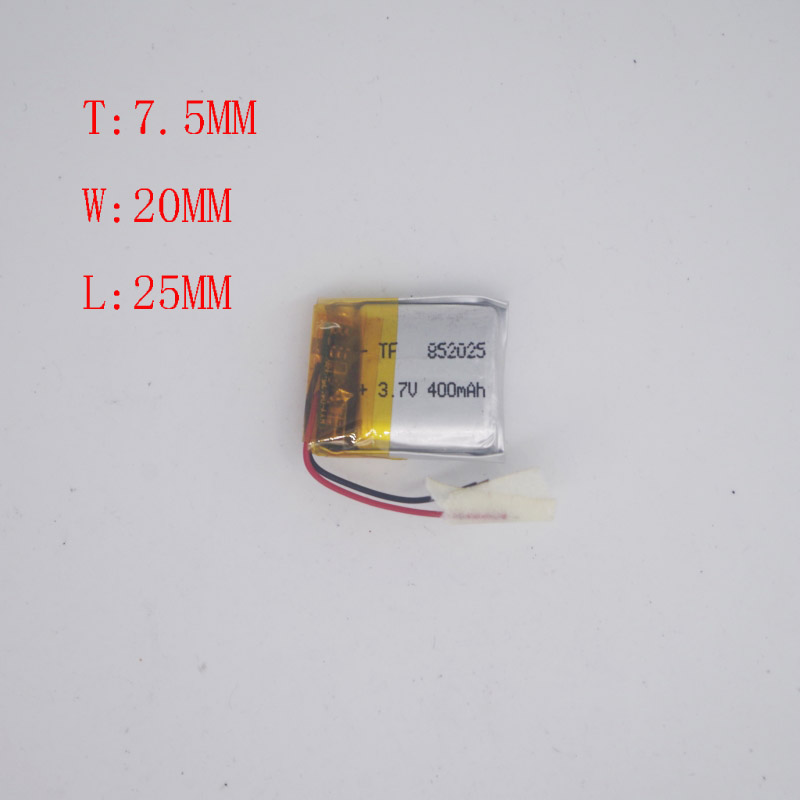 <font><b>3</b></font>.V Polymer Lithium Battery 752025 852025 Wireless WIFI Toy Driving Recorder <font><b>400</b></font> Mah image