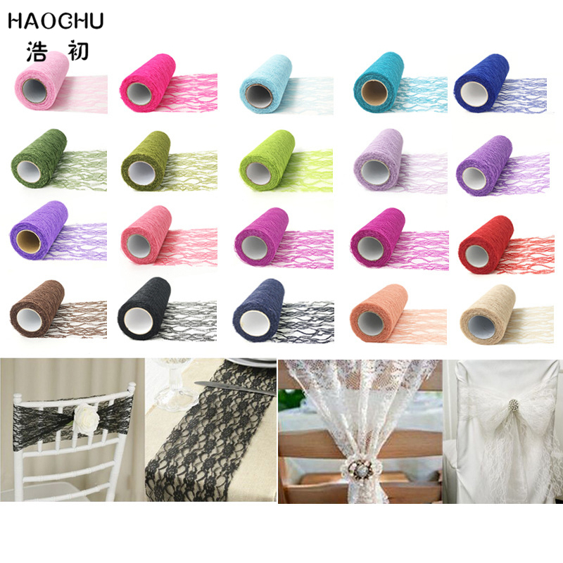 HAOCHU 15cm Wide 10yards Organza Lace Tulle Rolls Ribbon DIY Home Garden Wedding Event Party Chair Sash Bow Table Runner Decor