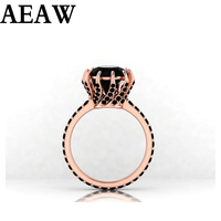 2.2ct Round Black Moissanite 14K Rose Gold Engagement Ring Test Positive Black Diamond For Women For Fine Jeweley