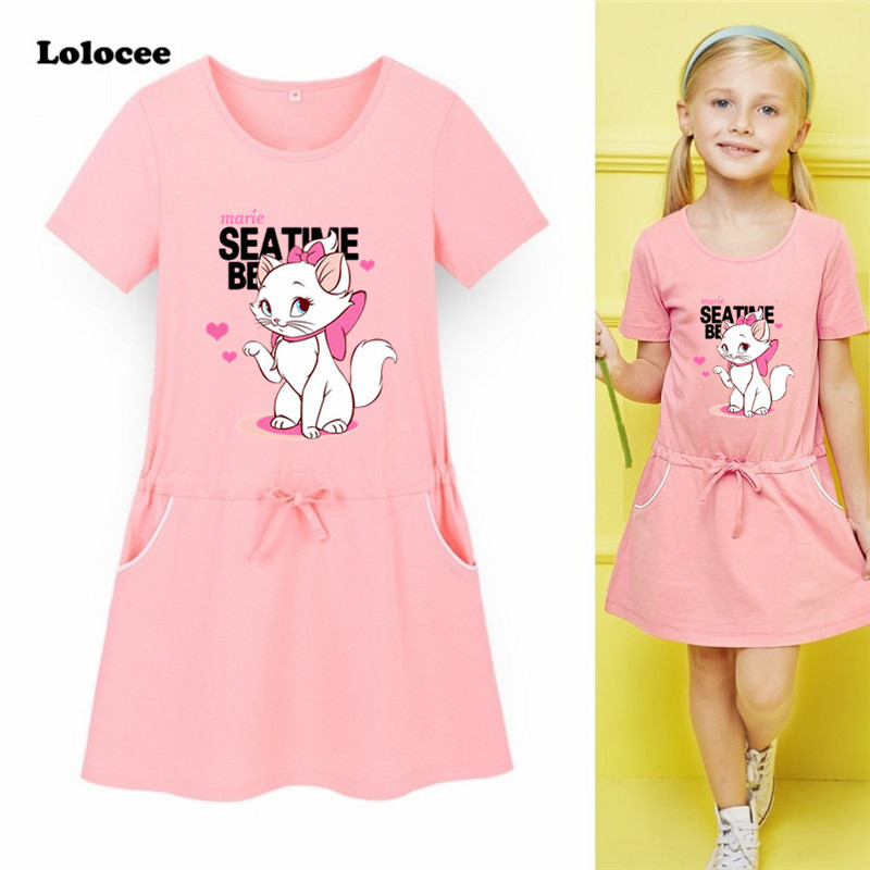 Princess Girls Dress 2018 New Fashion Summer Cat Print Children Short Sleeve Cartoon Baby Girl Cotton Party Dresses for Kids princess girls dress children long sleeve cartoon baby girl cotton party dresses for kids 2017 new minnie mouse dress cotton