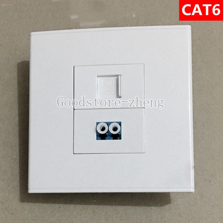 Wall Face Plate Fiber Optical LC Connector Coupler +RJ45 CAT6 Socket Faceplate