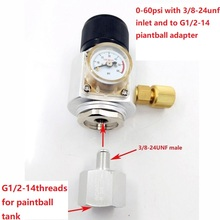 Mini CO2 Gas Regulator with Paintball Tank Adapter Converter for Homebrew Corny Keg 0~60psi