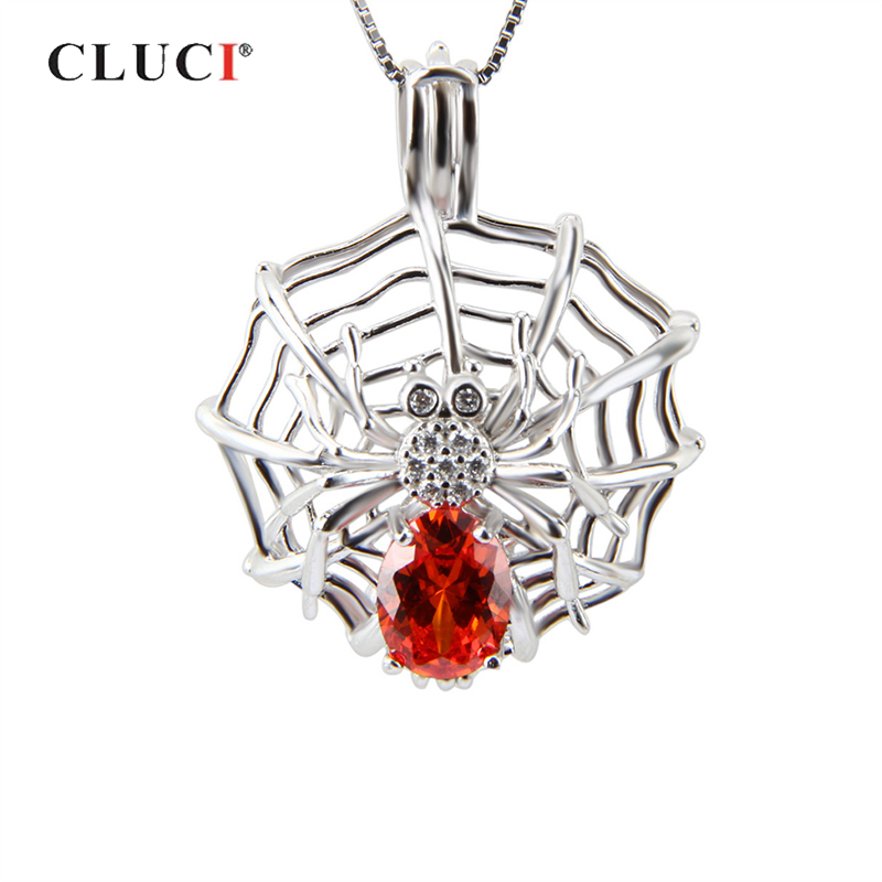 CLUCI 925 Sterling Silver Charms Pendant Spider Web Shaped Necklace Zircon Gemstone Women Wish Pearl LocketCLUCI 925 Sterling Silver Charms Pendant Spider Web Shaped Necklace Zircon Gemstone Women Wish Pearl Locket