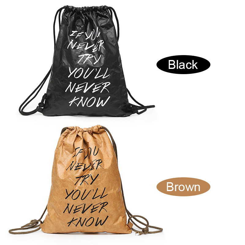 HOAGGO Women Bag Drawstring Bag Backpack Thicken Waterproof Kraft Paper Fashion Durable Hand bag Best SaleHOAGGO Women Bag Drawstring Bag Backpack Thicken Waterproof Kraft Paper Fashion Durable Hand bag Best Sale