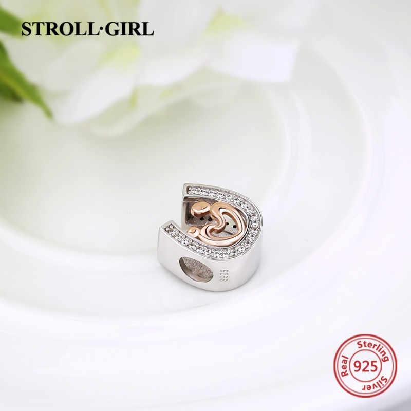 Strollgirl Серебро 925 Подвески любовник из рук в руки бусинами подходят оригинальный кулон Пандора браслет DIY Jewelry аксессуары для подарков