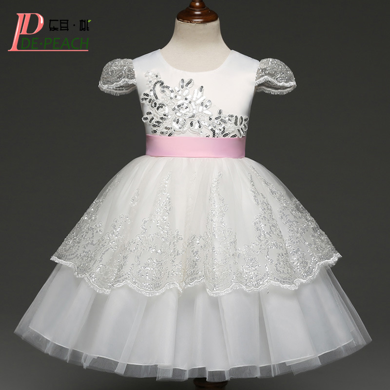 DE PEACH Summer Elegant Girls Sequins Dress Kids Embroidery Lace tutu Dresses For Wedding Party Birthday Pink Bow Baby Vestidos light peach allover lace three fourth sleeves dress pink