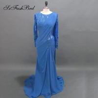 Robe De Soiree Longue Real Dresses O Neck Long Sleeves Mermaid Chiffon Long Formal Evening Party Dresses Dress in Arabic Style
