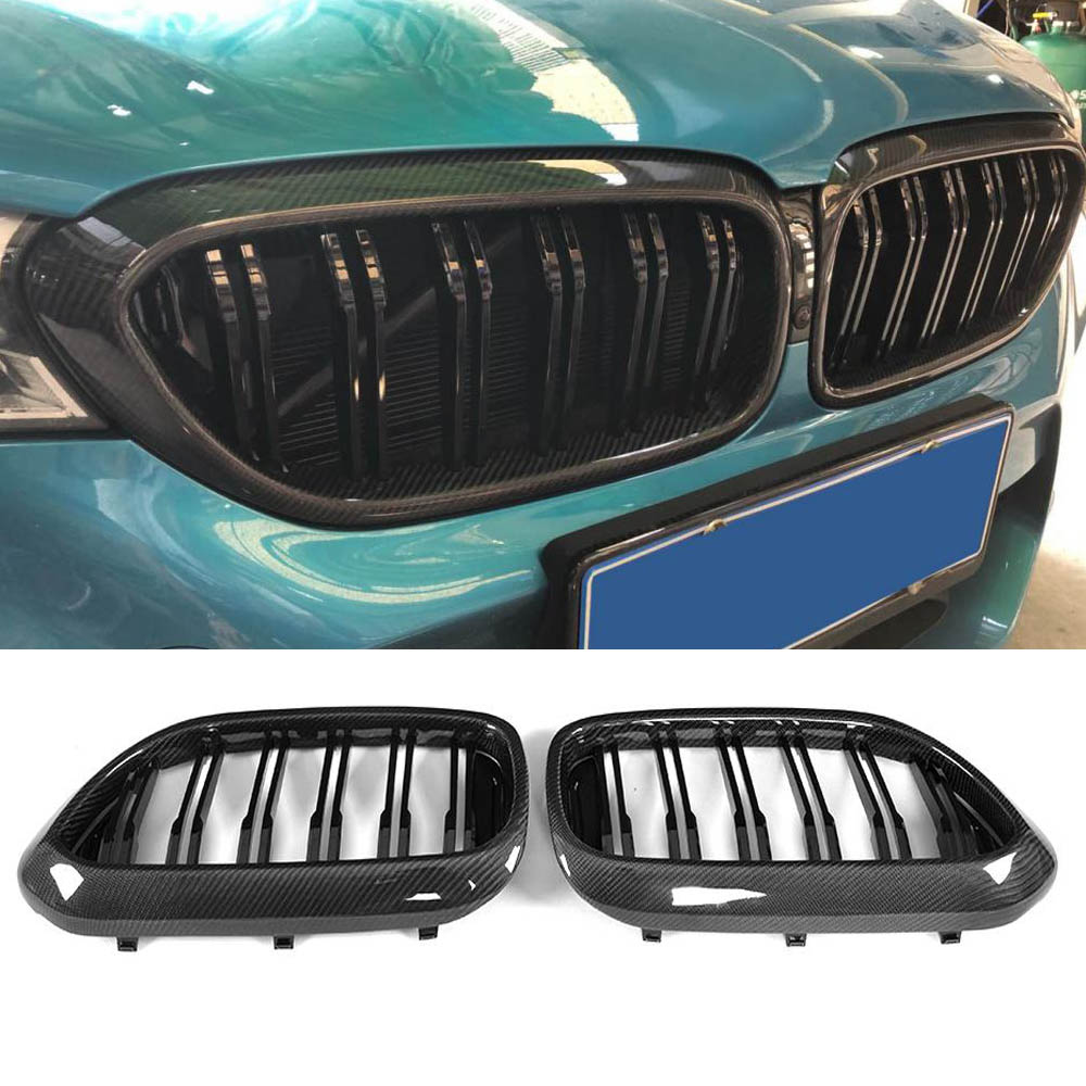 For <font><b>G30</b></font> Car styling Kidney Real Carbon Fiber Front Racing <font><b>Grills</b></font> Grille for BMW <font><b>G30</b></font> New 5 Series <font><b>G30</b></font> G38 F90 M5 2017+ image
