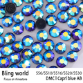 SS16 SS20 SS30 Heat Transfer Flatback CapriBlue AB DMC Hot Fix Rhinestones for Phonecase Decoration DIY Nail Art