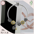 Hotsale  Popular Famous Brand 925 Sterling Silver Snake Chain With Gold  and Silver Flower Charm Beads