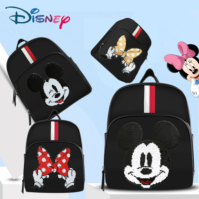 Disney Mickey USB Diaper Bag Waterproof Baby Bag Backpack Nappy/Maternity Bag For Mom Large Capacity Patch Process Smile Bow New