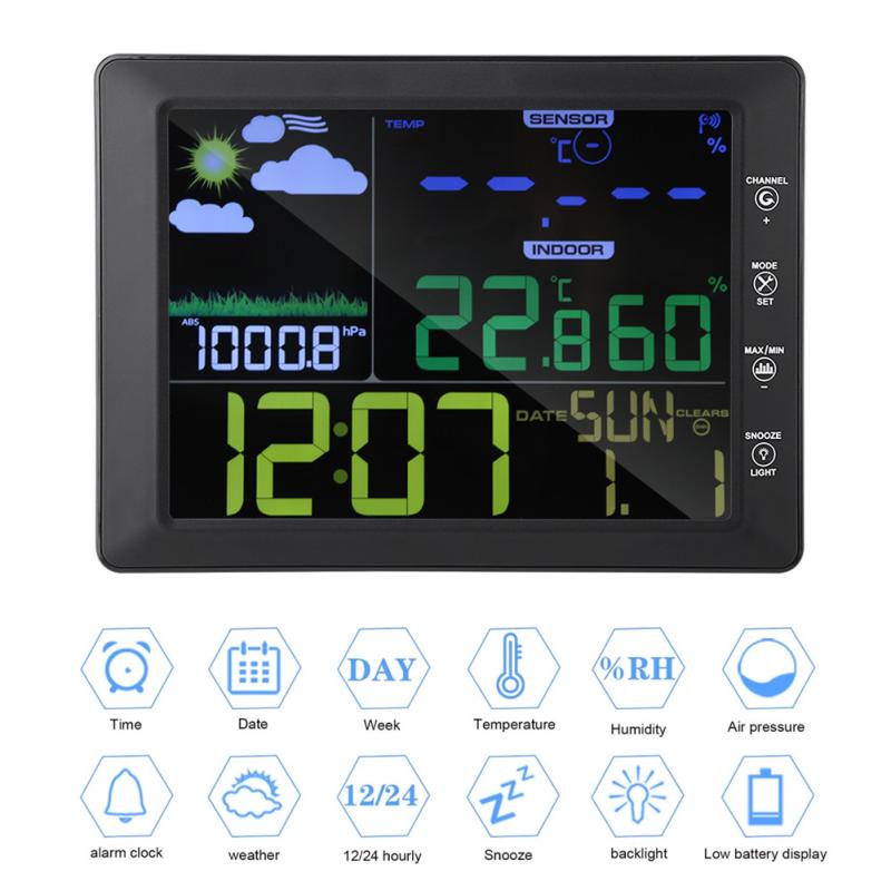 Wireless Color Screen Display Weather Clock Temperature  Humidity Meter Voice Control Alarm Clock weather Station forecast clock