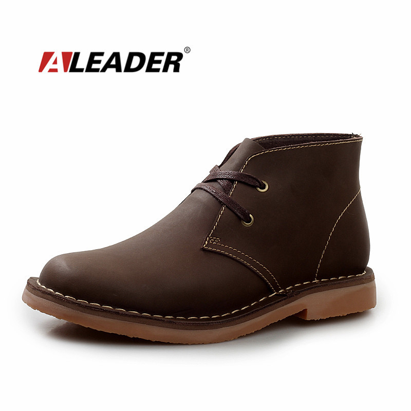 Waterproof Men s Spring Crazy Horse Leather Chukka Boots New 2016 Mens Martin Boots Shoes Fashion
