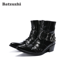 Batzuzhi Handmade Rock Men Boots Ankle Pointed Toe Black Genuine Leather Boots Men with Buckles 6.5cm Heels Military Shory Boots 2017 luxury handmade pointed toe ankle fringe tassel short boots high end designed men genuine leather suede boots