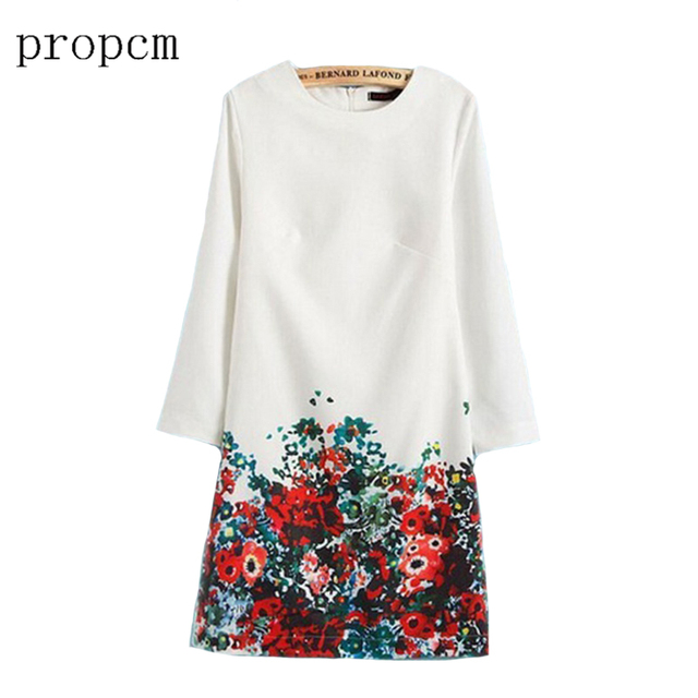 Women's Clothing 2017 Women Spring Summer Dress Vintage Printing O-Neck Dresses Casual Long-Sleeve  Women Party Club Dress