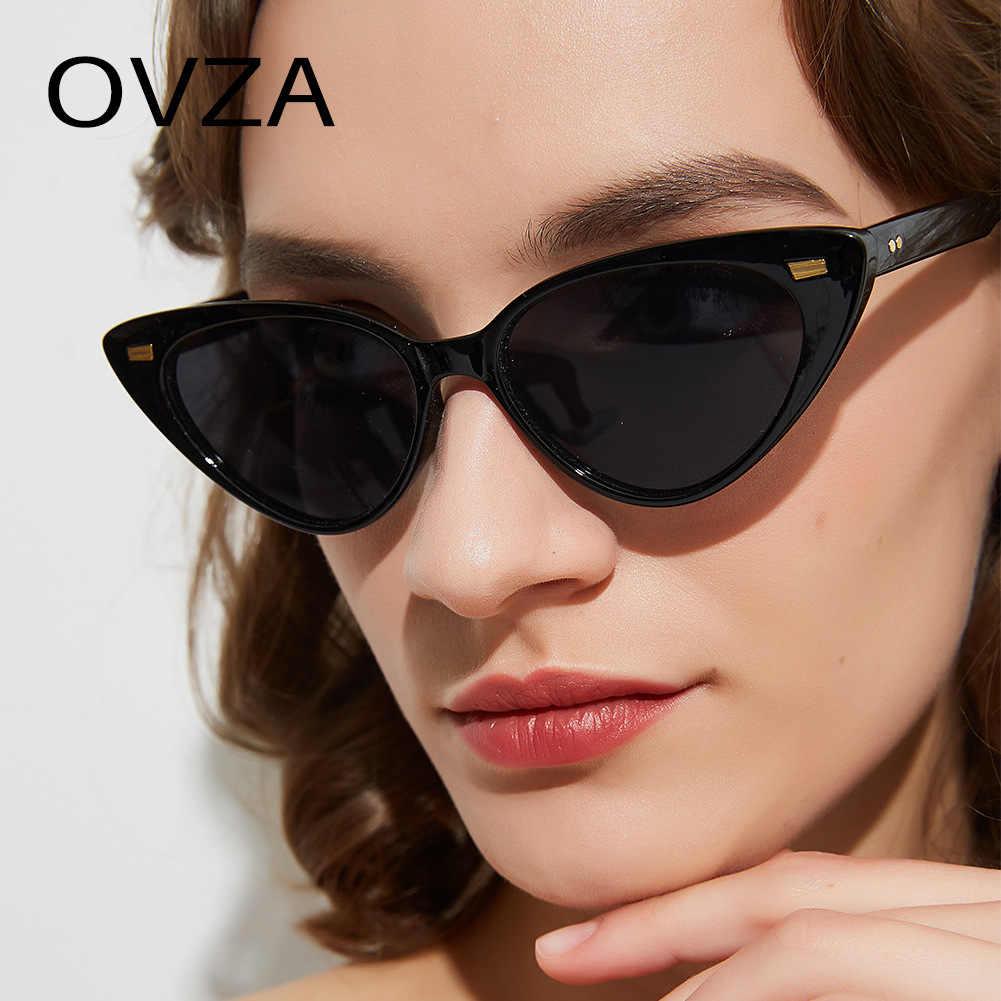 OVZA แว่นตากันแดด Retro VINTAGE Women Cat แว่นตากันแดด Eye ออกแบบ 2019 ใหม่สุภาพสตรีแว่นตาสีแดงสีดำคุณภาพสูง S8057