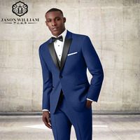 LN108 New Dark Blue Groom Tuxedos Black Pesked Lapel Groomsman Suit Custom Made Man Suit For