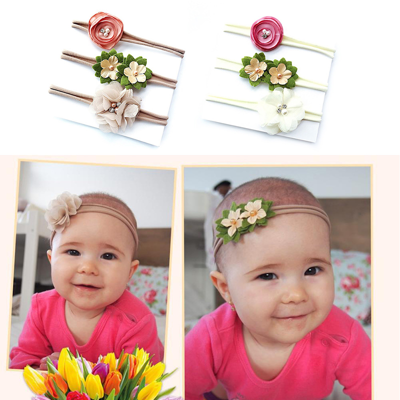 2019 3pcs Baby Girls Flower Headband Set Infant Bowknot Lovely Headwear Gifts For Children Kids Princess Bands Hair Accessories(China)