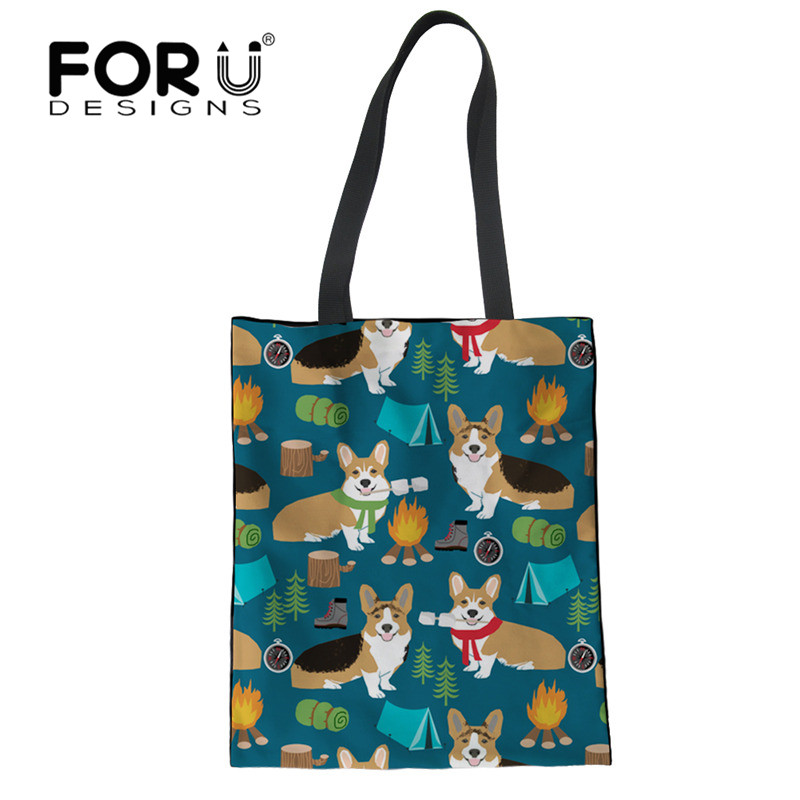 FORUDESIGNS Cute Cartoon Corgis Printed Tote Bag Women Eco Reusable Shopping Traveling Bags Folding Storage Bag Shopping Bag tote bag
