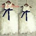 Foto Real Em Camadas Saia vestido de Baile Vestidos Da Menina de Flor Vestidos Brancos Organza Fita Tanque Meninas Vestido Para Festa de Casamento