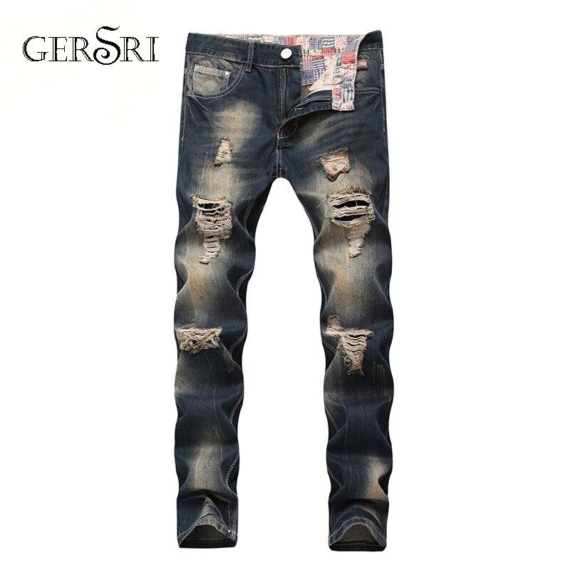 Gersri в стиле «хип-хоп» патч Для мужчин джинсы в стиле ретро сапоги до колена Rap отверстие на молнии байкерские джинсы Для мужчин свободные Узк...