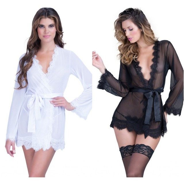 New Arrival 2016 Lace Robe With Waistband Free Shipping Mini Bathrobes For Women Large Size Temptation Lace Nightwear Sexy Style