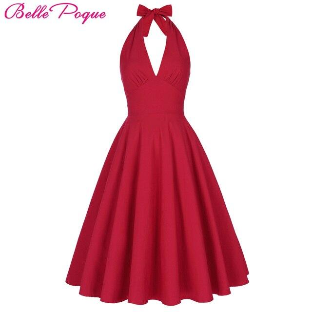 Belle Poque Frauen Sommer Sexy Red Retro Vintage Halter V ausschnitt ...