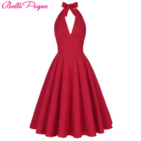Women Spring Retro Vintage Marilyn Monroe Style Halter V Neck Party Picnic Dress Autumn Casual Dress