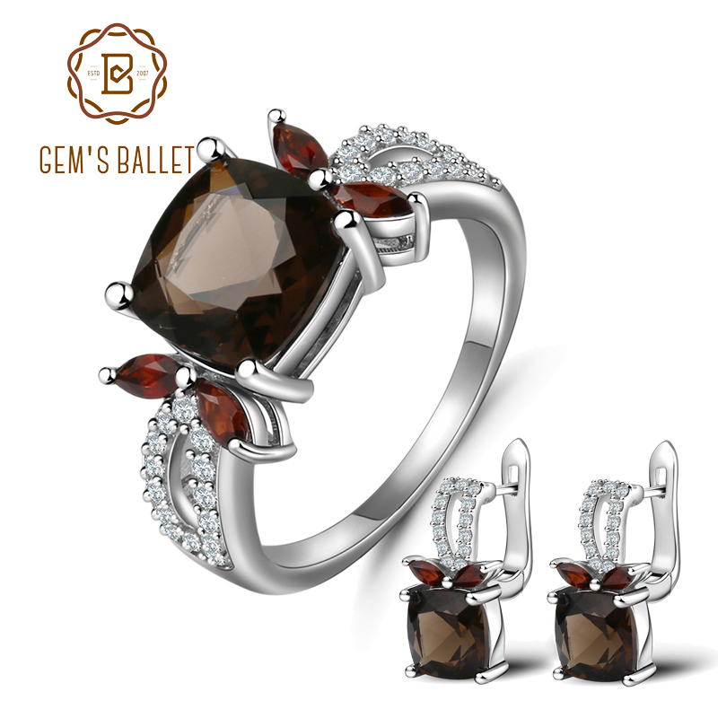 GEM'S BALLET Natural Smoky Quartz Garnet Rings Clip Earrings Genuine 925 Sterling Silver Fine Jewelry Set For Women Gift Fashion