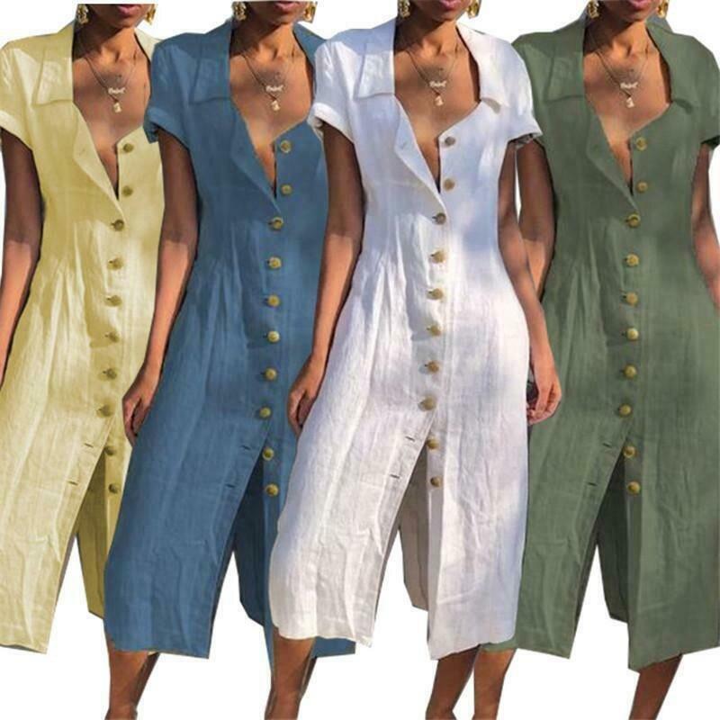 Summer Clothes For Women Summer Lapel Button Party Evening Beach Dress Sundress Boho Style Summer Dress