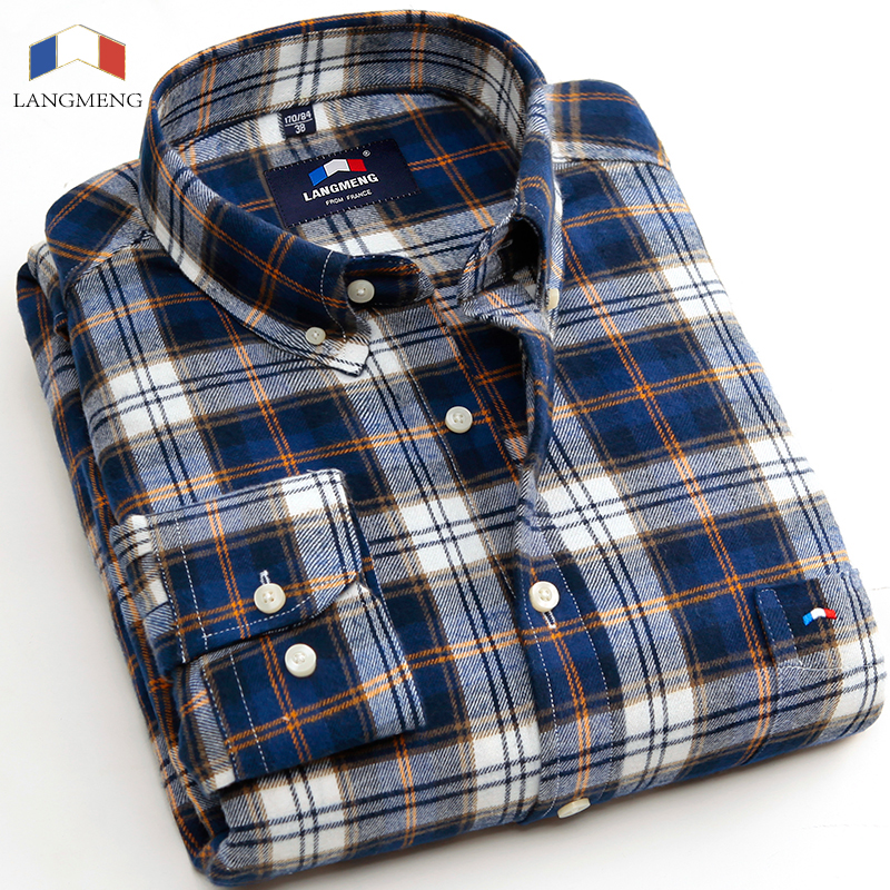 Buy langmeng 2016 brand warm 100 cotton for Mens warm flannel shirts