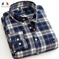 Langmeng 2016 marca quente 100% Algodão Masculina Camisa Xadrez mens chemise homme camisa masculina de Flanela de manga Comprida Camisas Casuais