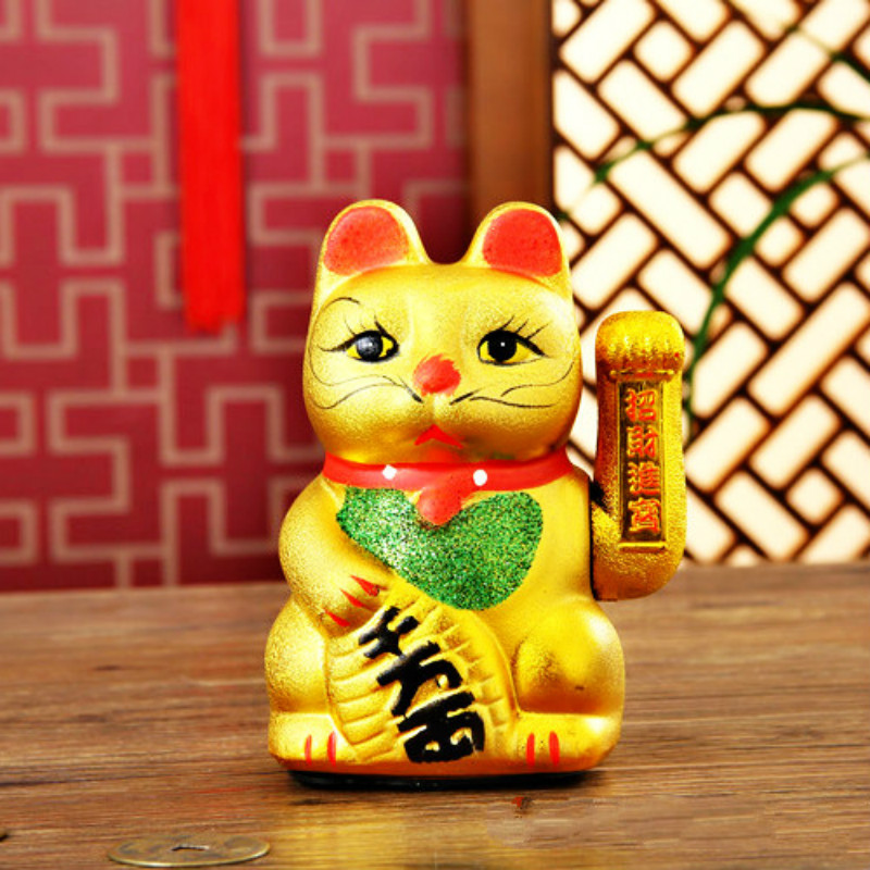 Lucky cat cute cartoon Electric Lucky Cat Ceramic Gold Ornaments Commercial Opening Decoration Gifts 7 inches/18cm no battery