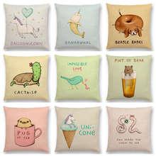 Hot Sale Super Cute Cartoon Animals Funny Nickname Unicorn Narwhal Dachshund Pug Flamingo Cushion Cover Sofa Throw Pillow Case