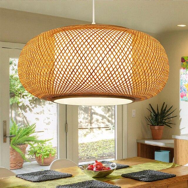 Classic Chinese ART Decorative Pendant Light Bamboo&PVC Lampshade  Droplight For Cafe Teahouse LED Retro Pendant Lamp 110V 220V