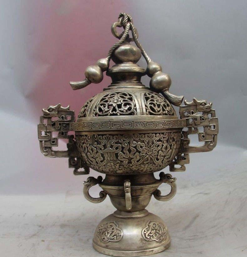 Chinese White Copper Silver Bottle Gourd Eight Treasures Incense Burner Censer