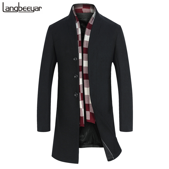 2017 Nova Marca de Moda-Jaqueta de Roupas Casaco de Lã Dos Homens Trench Único Breasted Peacoat Gola Casuais Inverno Homens Longos casaco