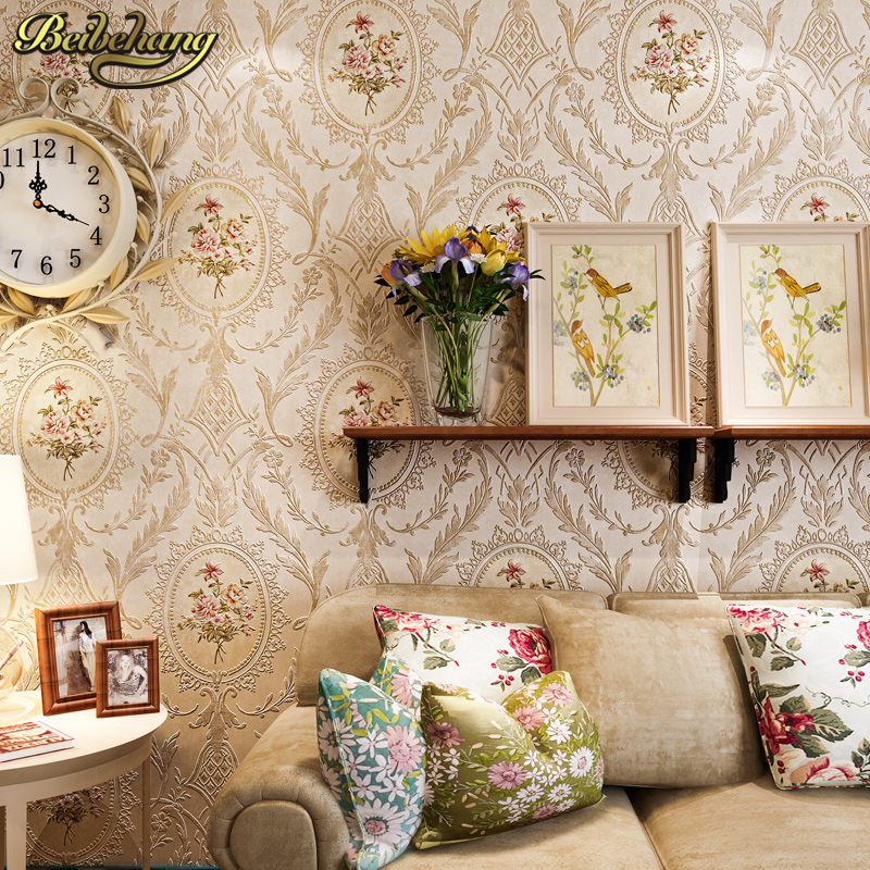 beibehang countryside relief 3D Wallpaper Floral Wall Paper roll Living Room Bedroom Wallpaper For Walls 3d papel de parede roll beibehang beautiful rose sea living room 3d flooring tiles papel de parede para quarto photo wall mural wallpaper roll walls 3d