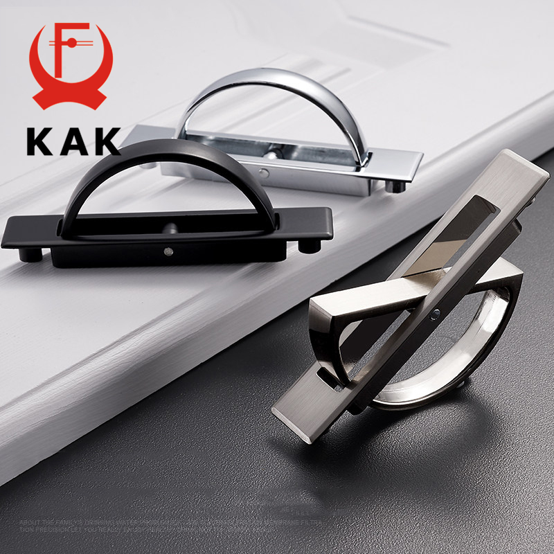 KAK Hidden Door Handles Zinc alloy hidden Recessed Flush Pull Cover floor cabinet handles bright chrome dark furniture