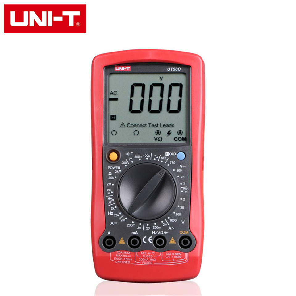 Free Shipping UNI-T UT58C LCD Digital Multimeter Professional Auto Range AC DC Volt Amp Ohm Temperature Hz Tester Lead Probe мультиметр uni t uni t ut71b alicate amperimetro ac dc