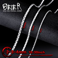 Beier stainless steel necklace twist 2mm/3mm/4mm trendy chain necklace boy man necklace chain Silver Color BN1023