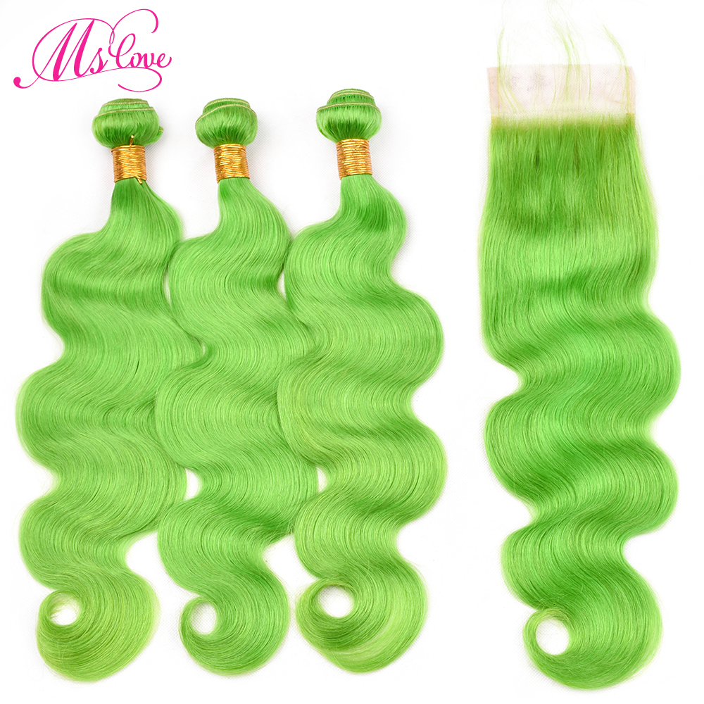 Ms Love Pre Colored Green Bundles With Closure Body Wave Human Hair Lace Closure 4X4 Remy Peruvian Hair Bundles With Closure